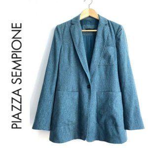 PIAZZA SEMPIONE Blazer Teal Cashmere Blend Sz 10